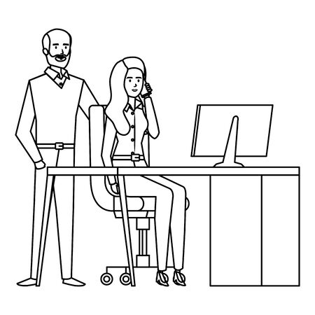 business couple in the workplace vector illustration design
