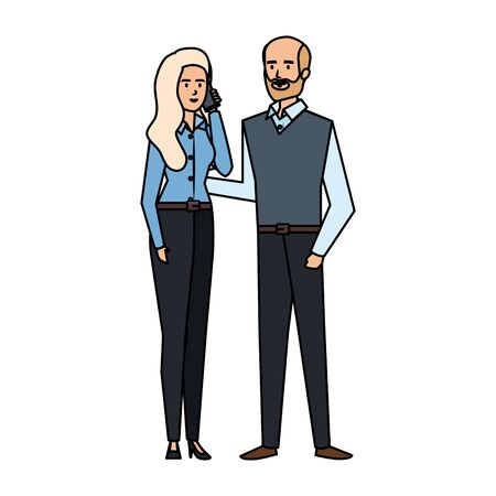 business couple calling with smartphone vector illustration design Illustration