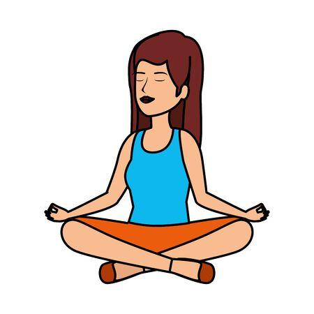 beautiful woman practicing yoga vector illustration design