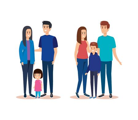 set women and men with their daughter and son vector illustration