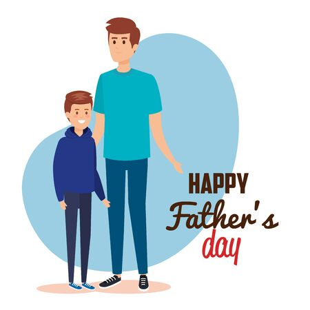 happy man with his son to fathers day vector illustration