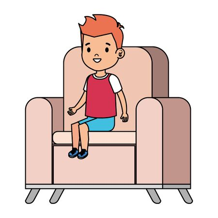 little boy sitting in sofa character vector illustration design Illusztráció