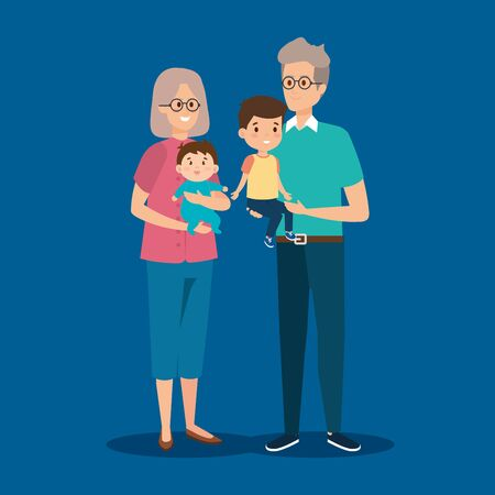 happy grandparents together with cute grandsons vector illustration