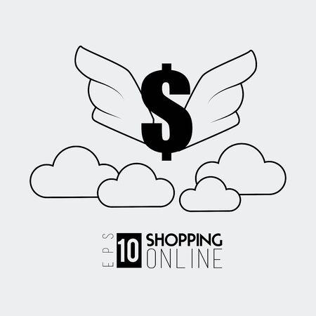 Shopping design over white background, vector illustration.