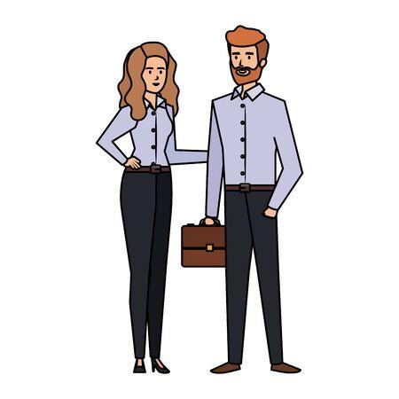 business couple with portfolio vector illustration design Illustration
