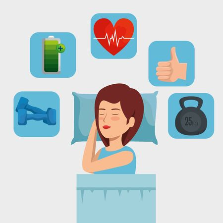 woman sleeping with heartbeat and dumbbells with battery vector illustration