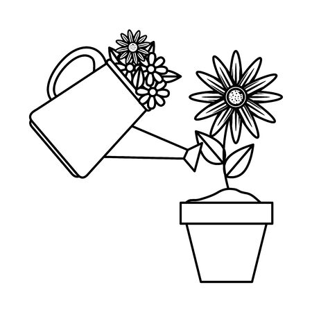 sprinkler pot with flowers and sunflower vector illustration design Фото со стока - 132972131