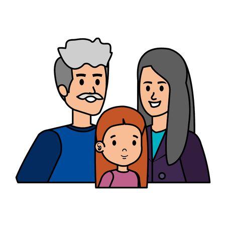 cute grand parents couple with grandaughter vector illustration design Illusztráció