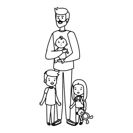 parents couple with kids characters vector illustration design
