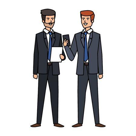 couple of businessmen avatars characters vector illustration design Illustration