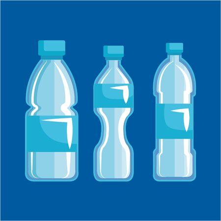 set plastic bottles and toxic waste pollution vector illustration