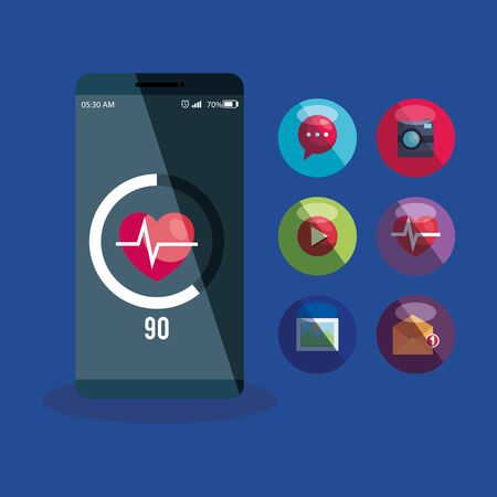 smartphone technology with heartbeat app and social media vector illustration