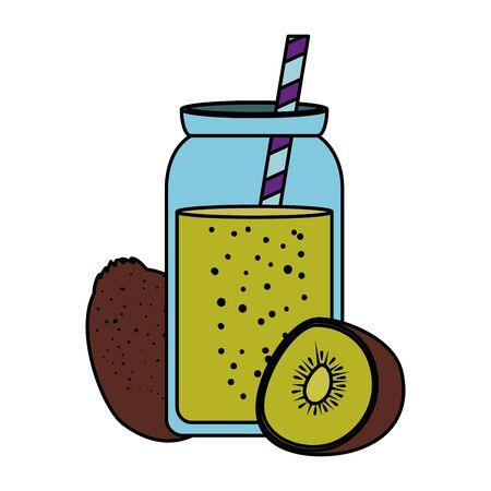 fresh kiwi exotic fruit with juice pot and straw vector illustration design