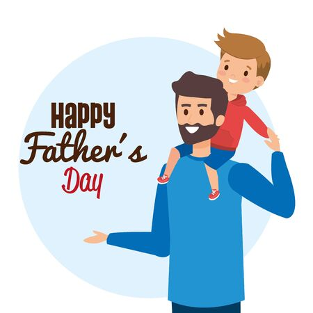 man with his son to happy fathers day vector illustration