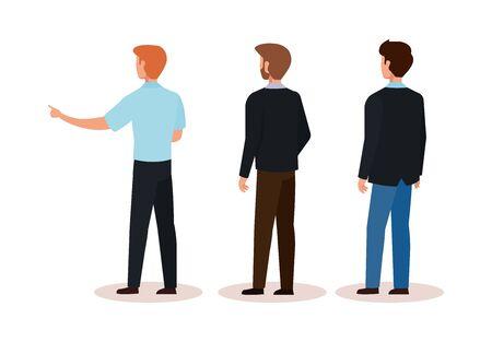 group businessmen of back avatar character vector illustration design