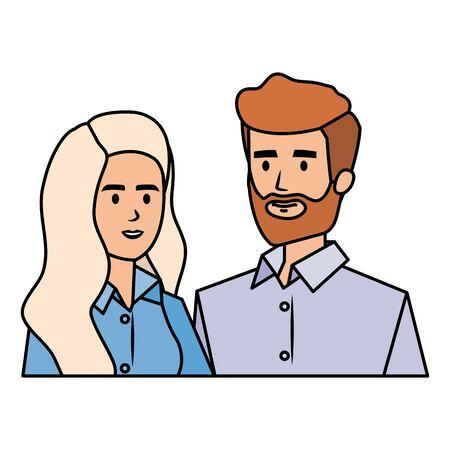 business couple avatars characters vector illustration design Illustration