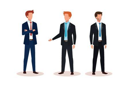 group of businessmen avatar character vector illustration design Illusztráció