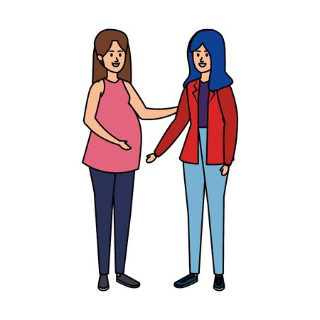 young pregnancy woman and friend vector illustration design