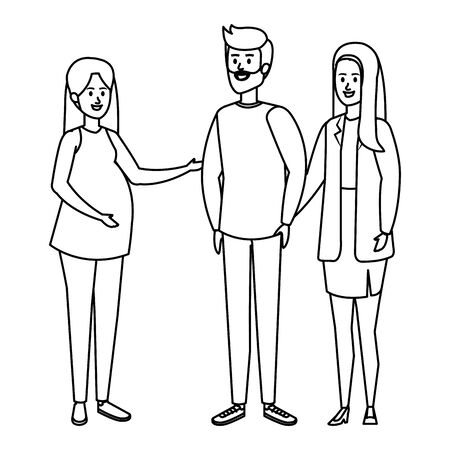 group people with pregnancy woman vector illustration design
