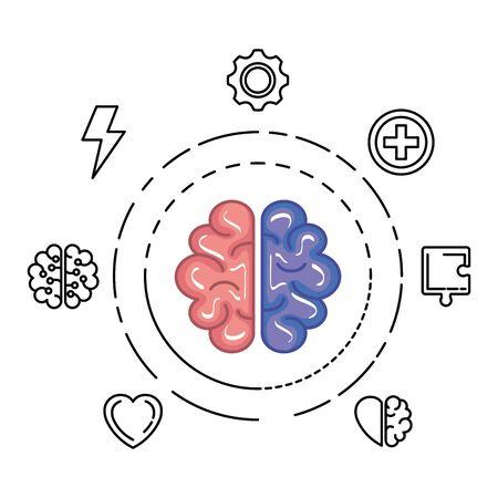 brain human organ with set icons vector illustration design