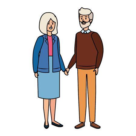 cute grand parents couple characters vector illustration design Illusztráció