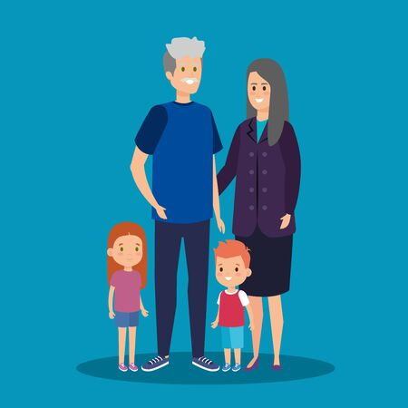 happy grandparents together with cute kids vector illustration