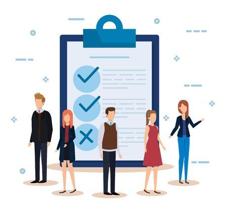 Geschäftsfrauen und Geschäftsleute mit Dokumentenchecklisten-Vektorillustration