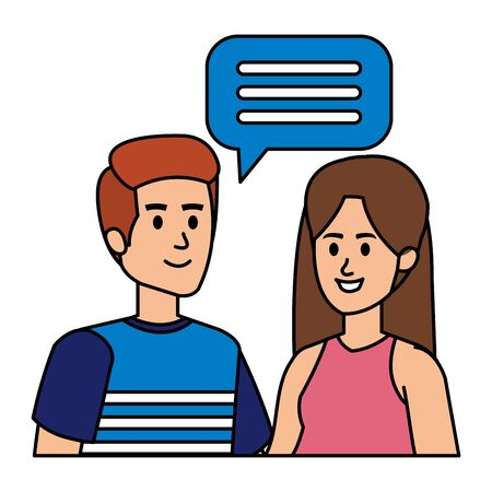 young couple with speech bubble vector illustration design Illustration