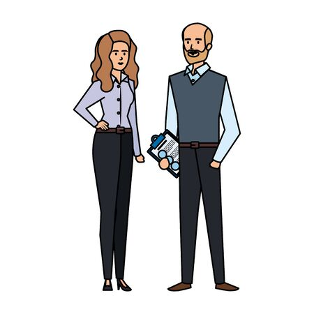business couple with documents vector illustration design
