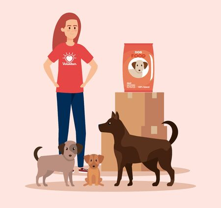 girl volunteer with dogs and boxes with food vector illustration