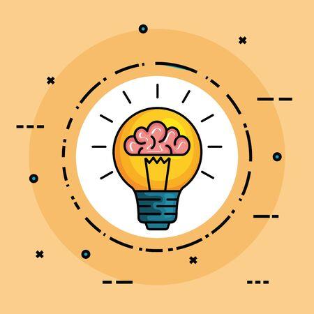 Etiqueta con cerebro de salud dentro de la ilustración de vector de idea de bombilla