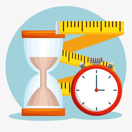 hourglass with measuring tape and chronometer to balance vector illustration Ilustração
