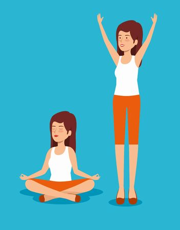 set women relaxation and exercise balance vector illustration