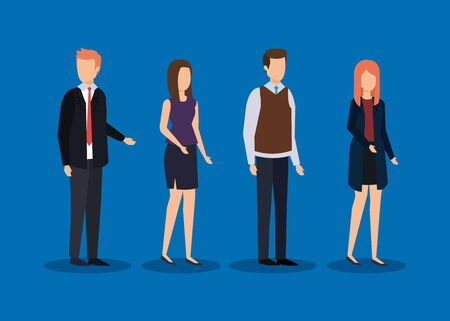set businesspeople with elegant clothes and hairstyle vector illustration