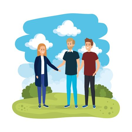 group of people in the landscape vector illustration design
