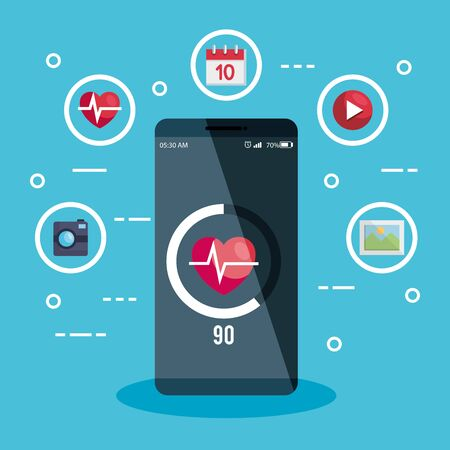 smartphone technology with hearbeat media and social app vector illustration