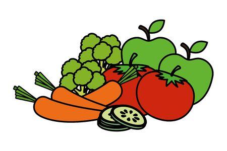 fresh vegetables and fruits salad vector illustration design