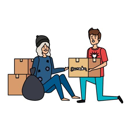 man volunteer giving a homeless woman donations box vector illustration design Stock Illustratie