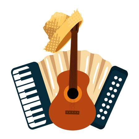 accordion with guitar and gardener straw hat vector illustration design