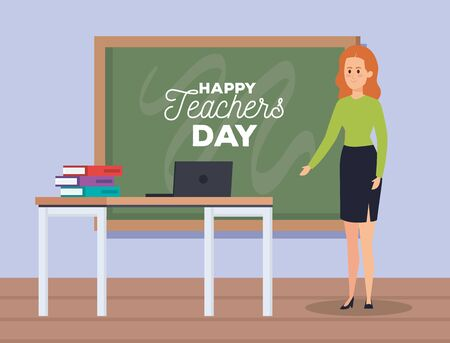 woman teacher and laptop with books and blackboard vector illustration Çizim