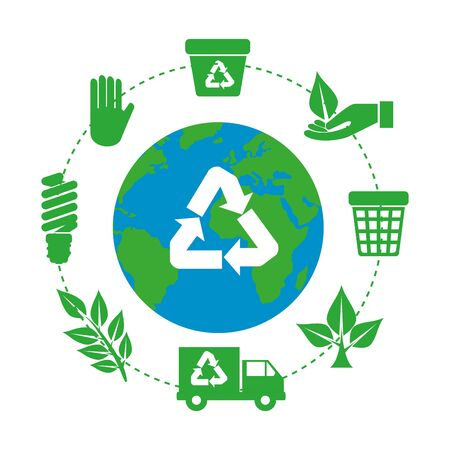earth planet with recycle arrows and ecology icons vector illustration design Vettoriali