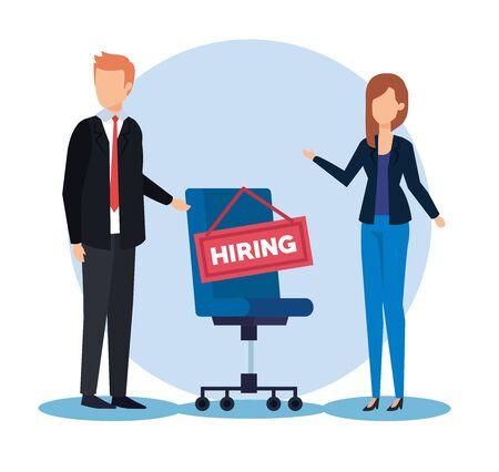 homme d'affaires professionnel et femme d'affaires avec illustration vectorielle de chaise d'embauche