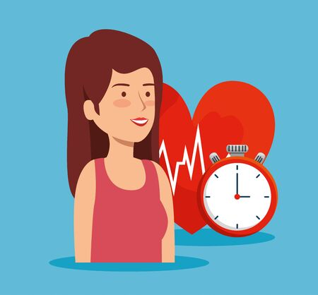 health woman with heartbeat and chronometer balance vector illustration