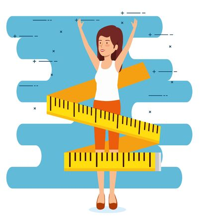 woman with health lifestyle and measuring tape vector illustration Illustration