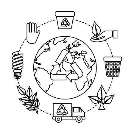 Planeta tierra con flechas de reciclaje e iconos de ecología, diseño de ilustraciones vectoriales Ilustración de vector