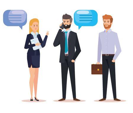 Empresarios profesionales con burbuja de chat y maletín ilustración vectorial