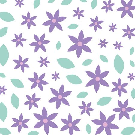 beautiful flowers with leafs decorative pattern vector illustration design Illustration