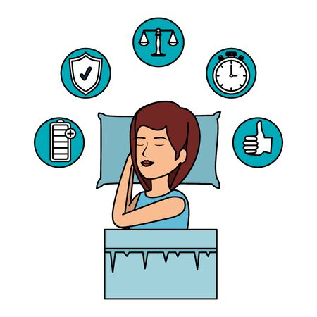 beautiful woman slepping with set icons vector illustration design Archivio Fotografico - 133013447