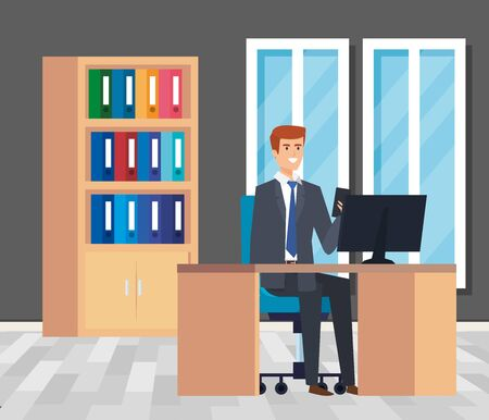 executive businessman with bookcase and computer in the desk vector illustration