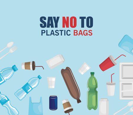 toxic plastics waste contamination of the ecology vector illustration